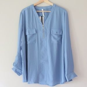 "Blue Long Sleeve Blouse ""Utility Shirt"" - Plus 3X"